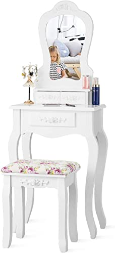 wholesale Giantex Vanity Set with 3 Drawers and Cushioned Stool, Makeup Dressing Table online sale for Bathroom high quality Bedroom Small Space, Vanity Table and Bench for Kids Girls Women Gifts (White) outlet online sale