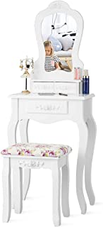 Giantex Vanity Set with 3 Drawers and Cushioned Stool, Makeup Dressing Table for Bathroom Bedroom Small Space, Vanity Table and Bench for Women Gifts (White, 20.0