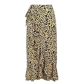 Solarphoenix Leopard Print Women Maxi Skirt Side Bow tie Autumn Skirts High Waist Ruffled Asymmetrical Long Skirt,Yellow,L