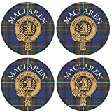 I Luv LTD Maclaren Clan Escocés Apellido Redondo Cork Backed Portavasos Conjunto de 4
