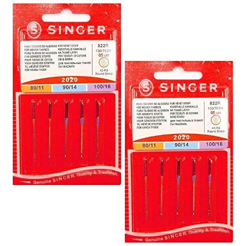 Singer – Lote de 20 agujas para máquina de coser universales – grosor: 80/90/100 – Calidad superior