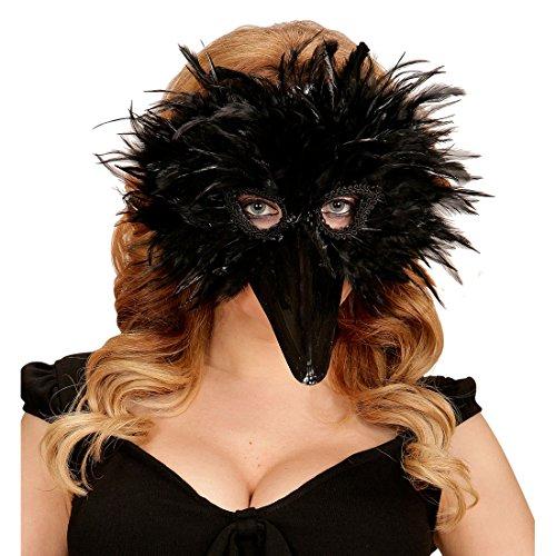 NET TOYS Vogelmaske Federmaske Rabe schwarz Vogel Rabenmaske Schnabelmaske Tiermaske Halloween Krähenmaske Rabe Faschingsmaske Crow
