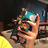 for iPhone 6/6SPLUS/7/7PLUS/8/8PLUS/X/XS/XR/XS MAX 5.8' Newest Retro Blue Ray Rose Flower Glitter Skin Design TPU+ PU Leather Plating Square Corner Strong Back Case with Holder (Rose, iphone7/8 Plus)