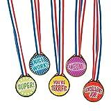 Award Medals Assortment ~ 50 Plastic 1.5' Medals on 16' Patriotic Ribbons ~ New
