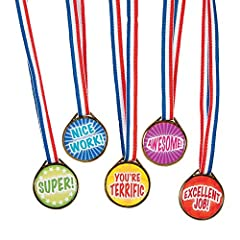 50 pieces assorted award medals Made of plastic material Each medal is printed with a message such as: Nice Work!, Excellent Job!, You're Terrific, Super!, Awesome! Medals come with patriotic ribbons Measures approximately: 1.5 inches Medal on 16 inc...