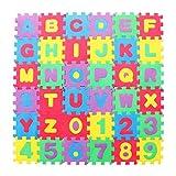 TOYANDONA 72 Piezas para Niños Rompecabezas de Espuma Tapete de Juego de Baldosas de Eva Entrelazadas Alfombra de Espuma ABC con Alfabeto Y Números (Color Aleatorio)