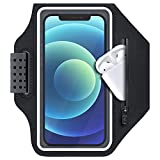 ykooe Running Phone Armband Case for iPhone 11,12, Pro, Max, XR, XS,8,7,6, Plus Water Resistant Sports Exercise Gym Workout Card Holder Arm Band with Adjustable Band and Zipper Pocket, Black
