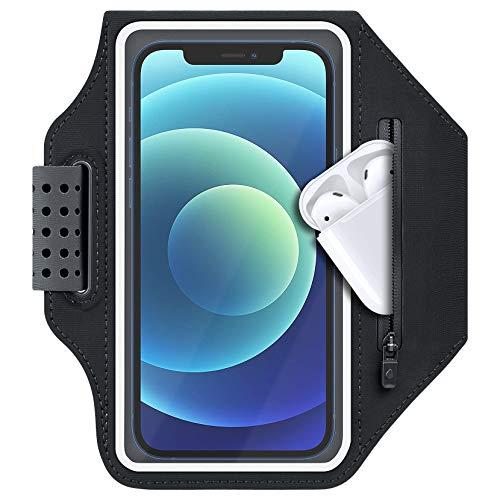 ykooe Fascia da braccio sportiva per iPhone 11, 8, 7, 6 Plus, resistente al sudore, per iPhone 12 Pro Max con tasca per Airpods, slot per carte di credito per corsa, jogging (nero)