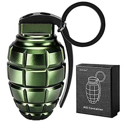 Keychain Pill Holder with Storage Case, Small Airtight Pill Container Organizer, Waterproof EDC Gadget Dry Box for Outdoor Survival, Camping, Adventuring, Travelling (Green) from Aufew