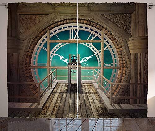 ABAKUHAUS Steampunk Cortinas, Fantasía Torre del Reloj, Sala de Estar Dormitorio Cortinas Ventana Set de Dos Paños, 280 x 245 cm, Brown pálido de la Turquesa