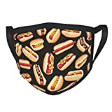 Reused Adult Black Border Face Mask Breathable Comfort Washable Delicious Hot Dog Pattern Cotton Face Cover