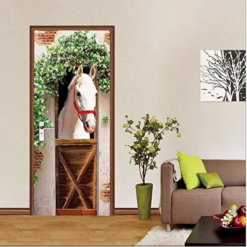 Fqz93in Türtapete Selbstklebend Türposter,Europäische Weiße Pferd Wandaufkleber DIY Wandbild Schlafzimmer Wohnkultur Poster PVC Wasserdichte Tür Aufkleber