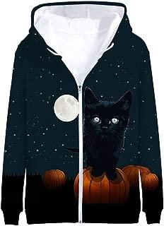 Men's Fashion TOP Halloween 3D Print Long Sleeve Zipper Hooded Sweater Jacket