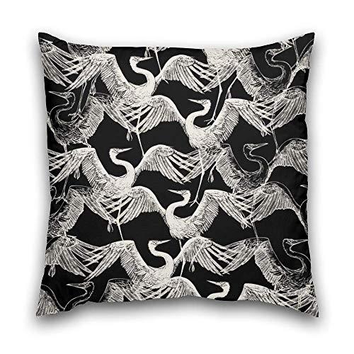 N\A Funda de cojín Decorativa Cremallera Invisible geométrica Patrón de Moda Abstracto Tela monocromática Vintage Gráfico de cigüeña Japón Negro Blanco Cremallera Funda de Almohada para el hogar