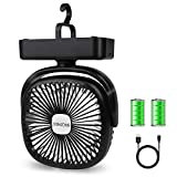 BRIGENIUS Camping Fan LED Lantern, Portable Mini Desk Fan USB Rechargeable 4400mAh Battery Operated Fan with Hook, 3 Speeds...