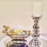 DRULINE Kerzenleuchter Kerzenhalter Aladdin Klein 32cm Antik Kerzenständer Kerzeneinsatz Stumpenkerzen Tafelkerze Taufkerzen Kommunionkerzen Heimdekoration Teelichthalter Dekoration Silber