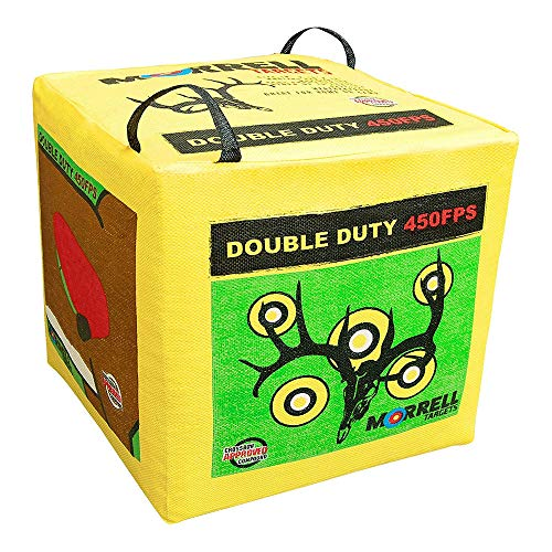 Morrell Double Duty 450 FPS 4 Sided Cube Field Point Archery Bag Target with Traditional Bullseyes, Nine-ball, Dartboard Game, and Deer Vitals, Yellow