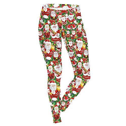 DSCX Dames Leggings Kerst Panty Print Mode Elastische Plus Size Santa Broek