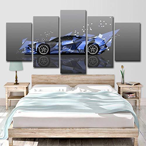 WENXIUF Bilder 5 Teil Wohnzimmer Wandbilder Drucke Auf Leinwand Blaue Sportwagenlandschaft Leinwandbild Schlafzimmer 150X80Cm Fertig Holzrahmen Fotoleinwand Bereit Zum Aufhängen
