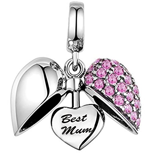 Uniqueen I Love You to The Moon and Back Birthstone Heart Charms Bead fit Bracelet