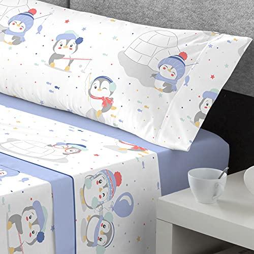 Catotex – Juego de Sabanas Coralina Infantil Kabely Kids 3 Piezas (Bajera + Encimera + Funda Almohada) 210gr Super Suave Mod. Winter( Cama 105 – Color Azul )
