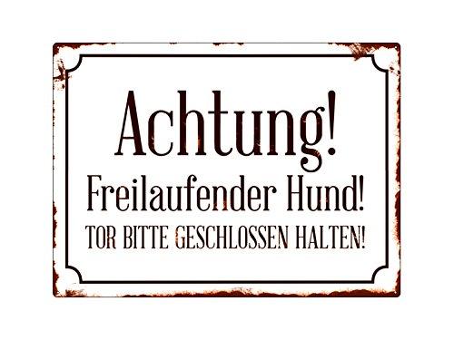 Interluxe Shabby Achtung! *FREILAUFENDER* Hund Warnschild Tor Wandschild Metall
