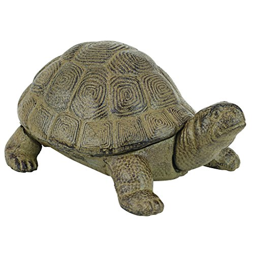 Design Toscano Aesop's Turtle Garden Statue, 10 Inch, Verdigris