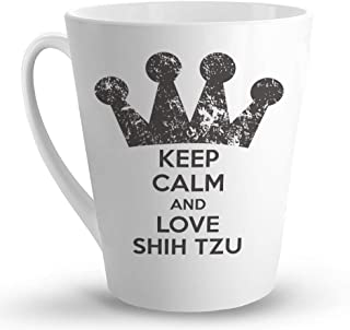 Makoroni - KEEP CALM AND LOVE SHIH TZU Dog - 12 Oz. Unique LATTE MUG, Coffee Cup