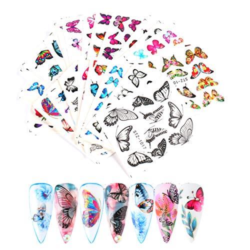 MWOOT 30 Fogli Farfalla Adesivi per unghie,Nail Art Water Transfer Sticker Home Decalcomanie per Manicure Con per Le Donne Bomboniere per Le Unghie Fai-da-te Decalcomanie