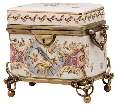 aubaho Boîte avec Couvercle - Porcelaine/Applications en Bronze - Motif Oiseaux