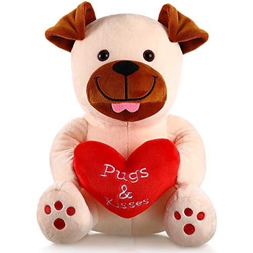 Valentine's Day Plush Stuffed Animals 10 Inch Cute Plush Animals Holding Red Heart Soft Plush Toy for Valentine's Day, Wedding, Anniversary (Loving Heart Dog)