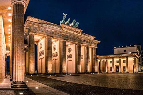 XINTONG 5D DIY Diamant Zeichnung Brandenburg Tor Nacht Platz Möbel Dekoration Rahmenlos 30 * 40Cm
