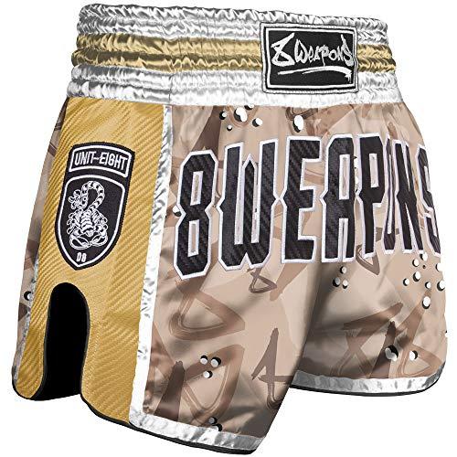 Thai Box MMA /Pantalones de Kickboxing 8 WEAPONS Muay Thai Pantalones Cortos Short/ Silver Dragon