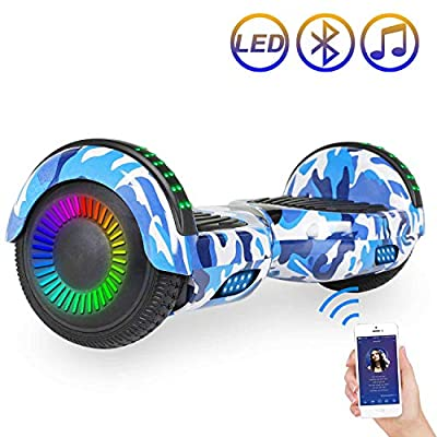"Hoverboard Self Balancing Scooter 6.5"" Two-Wheel Self Balancing Hoverboard with Bluetooth Speaker and LED Lights Electric Scooter for Adult Kids Gift UL 2272 Certified Fun Edition - Desert Camo"