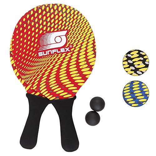 Sunflex Neopren Beachball Set Splash mit Zwei Schlägern und Zwei Bällen in rot  weich und leicht   extrem robust und wasserfest