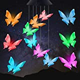 Purple Solar Butterfly Wind Chimes LED Solar Wind Chime Outdoor Color Changing Waterproof Romantic Mobile Hanging Wind Bell Light for Courtyards, Patio, Gardens, Gifts