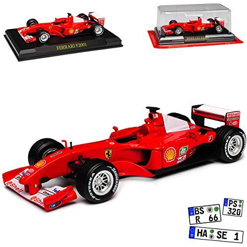 Ferrari F2001 Nr 1 Michael Schumacher 2001 Formel 1 Weltmeister 1/43 Ixo Modell Auto mit individiuellem Wunschkennzeichen