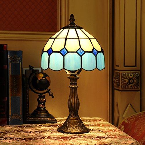 Lámpara del dormitorio Lámpara de cabecera Gweat 8 pulgadas mediterránea del estilo de Tiffany Tabla Ámbar (4 colores para elegir)