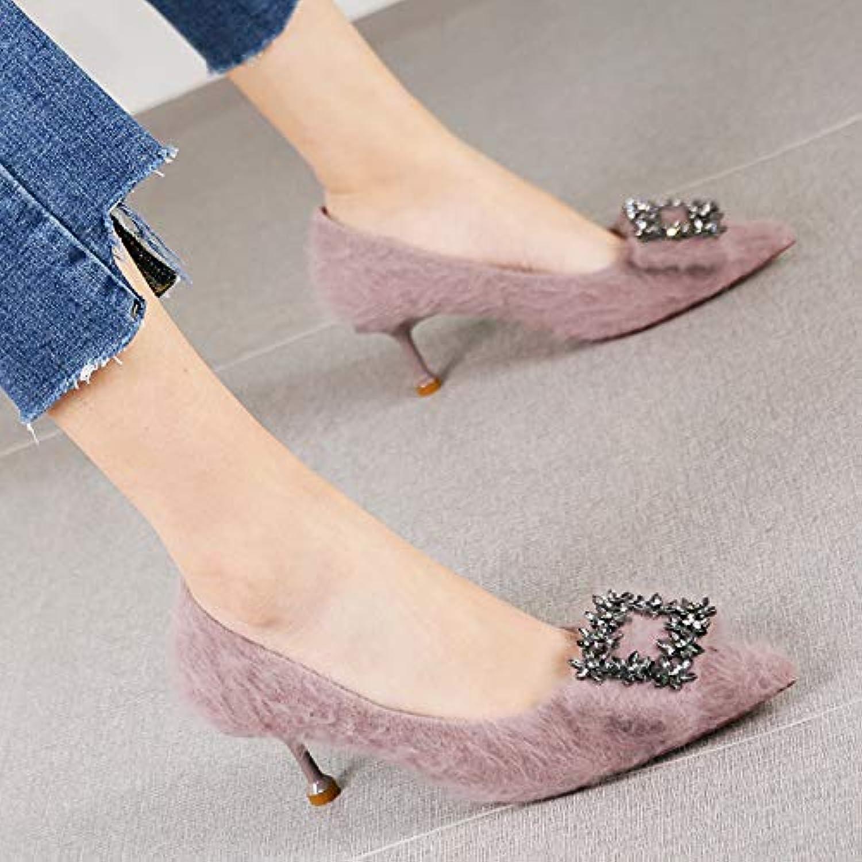 HRCxue Pumps Temperament Strass Spitze Stiletto Heels Damenmode flachen Mund Schuhe, 36, nackt  | Verkaufspreis  | Angenehmes Gefühl  | Shopping Online