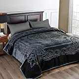 JML Fleece Blanket King Size, Heavy Korean Mink Blanket 85 X 95 Inches- 9 Lbs, Single Ply, Soft and Warm, Thick Raschel Printed Mink Blanket for Autumn,Winter,Bed,Home,Gifts, Dark Grey