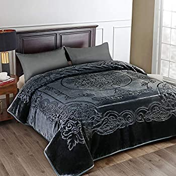 JML Fleece Blanket King Size Heavy Korean Mink Blanket 85 X 95 Inches- 9 Lbs Single Ply Soft and Warm Thick Raschel Printed Mink Blanket for Autumn,Winter,Bed,Home,Gifts Dark Grey
