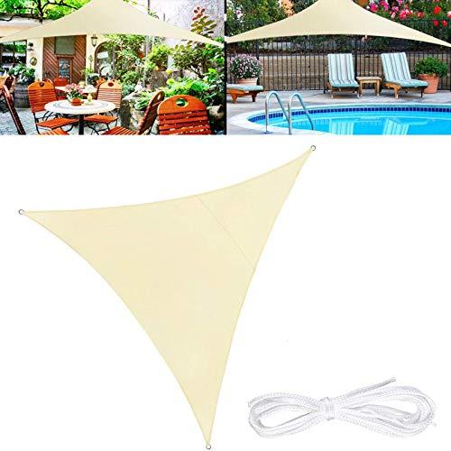 YFFS Triangular Sun Vela Sombra Impermeable Al Aire Libre Protección UV Verano Fresco Fiesta Playa Ocio Toldo Jardín con 3 Ataduras (4.5 x 4.5 x 4.5m)