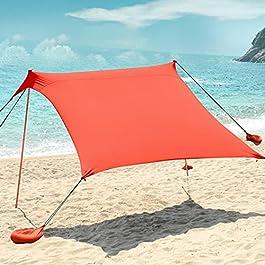 Tente de plage pop-up pour 4 personnes UPF50+, abri solaire portable avec sac de transport, auvent pour voyage, pêche ou…