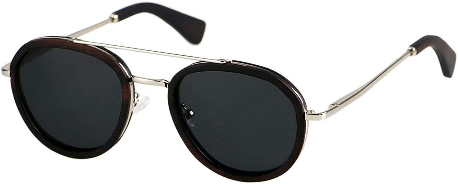 ANDWOOD Aviator Wood Sunglasses Metal Frame Polarized Lens For Men and Women