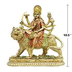 ☎ PERFECT STATUE - Size: 26L X 11W X 27H CM (10.5''H) Weight: 2.19 Lbs Material: Eco-Friendly, Non-Toxic, USA import Poly Stone Color: Antique Gold ☎ BEAUTIFUL CRAFTSMANSHIP - Warrior Goddess Durga was carved by Indian artist and specially technique ...