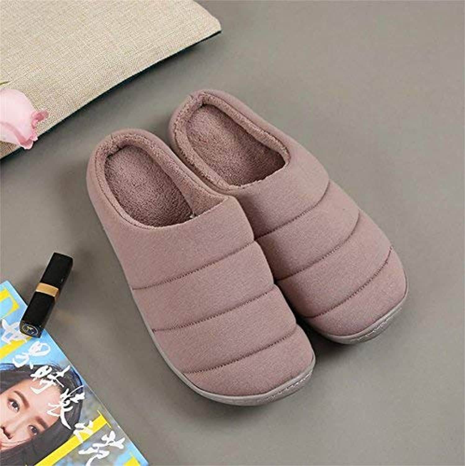 JaHGDU Men's Fall and Winter Home shoes Thick Cotton Slippers Slip Keep Warm Indoor Bedroom Slippers for Men Pink