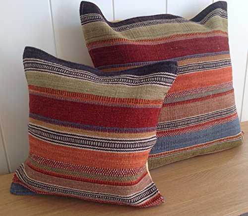 Second Nature Online Fair Trade Ooty Kilim Cushion Cover 60cm - Multi Coloured Stripes