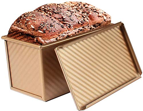Loaf Pan with Lid, Non-Stick Carbon Steel Bakeware Pullman Loaf Pan Bread Pan Toast Mold with Cover for Baking