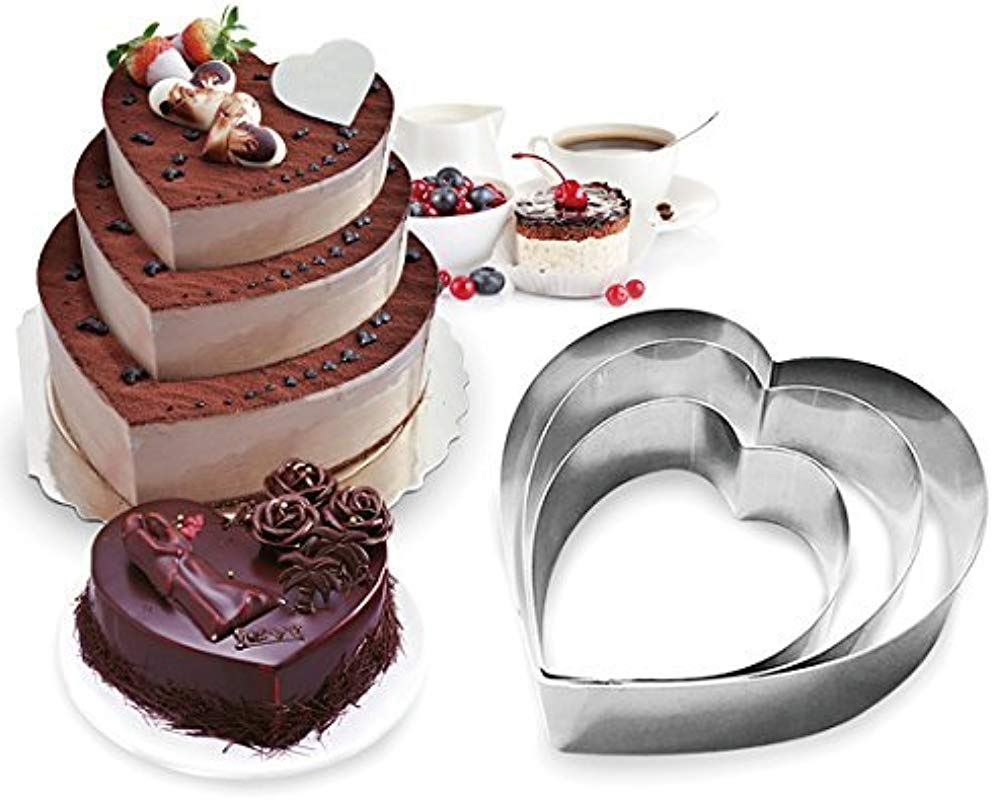 Funwhale 3 Tier Heart Multilayer Anniversary Birthday Cake Baking Pans Stainless Steel 3 Sizes Rings Heart Molding Mousse Cake Rings Heart Shape Set Of 3