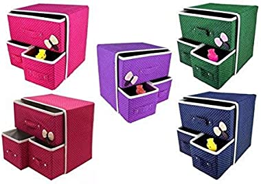 ISLA 2 Layers 3 Drawers Foldable Storage Box Bra Underwear Socks Cosmetics Closet Organizer Cloth Cabinet (multicolour)